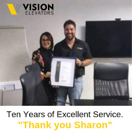 We are proud of Sharon Baron for 10 years with Vision Elevators.
