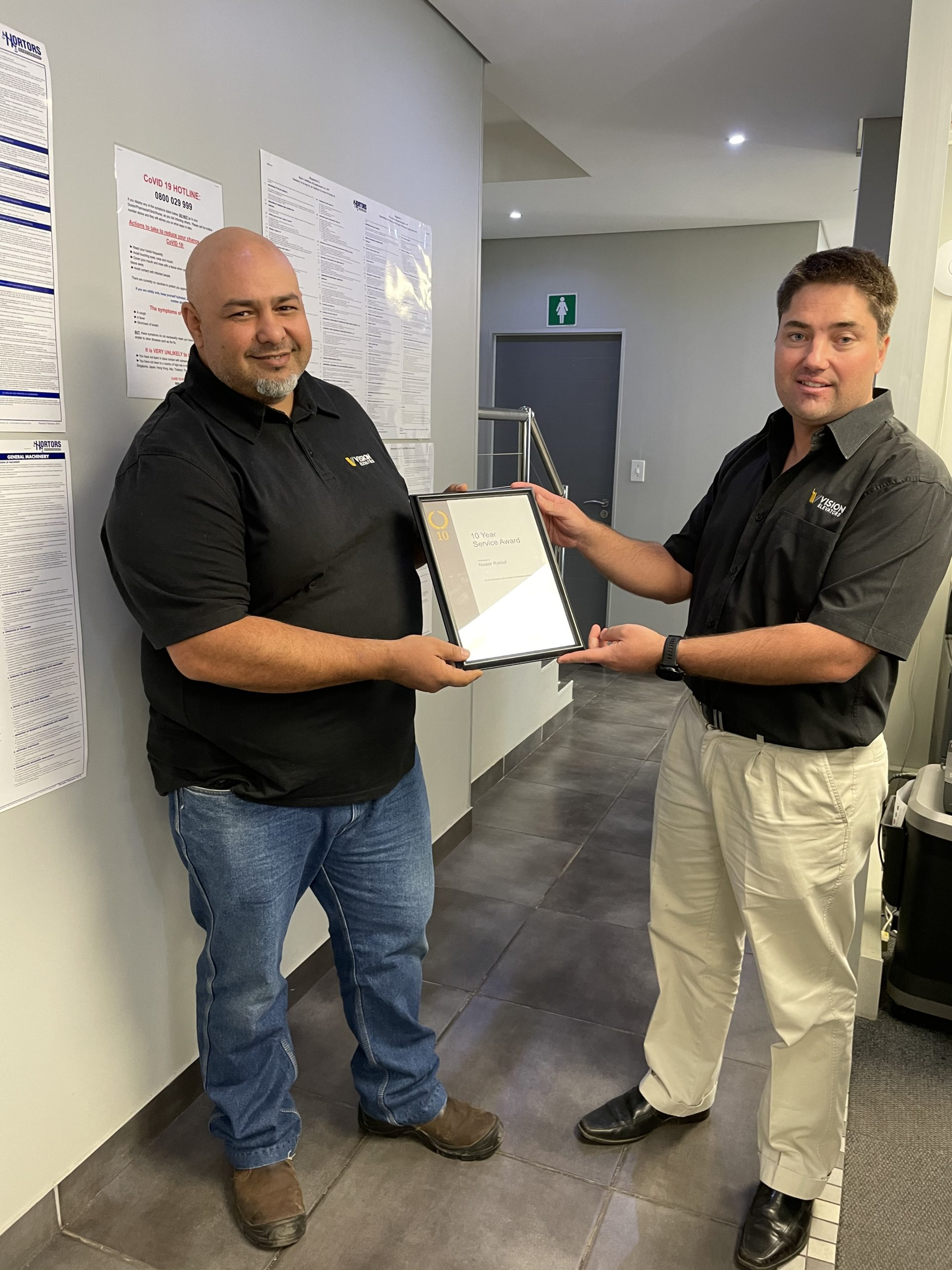 We are proud of Naasir Ryklief for 10 years with Vision Elevators.
